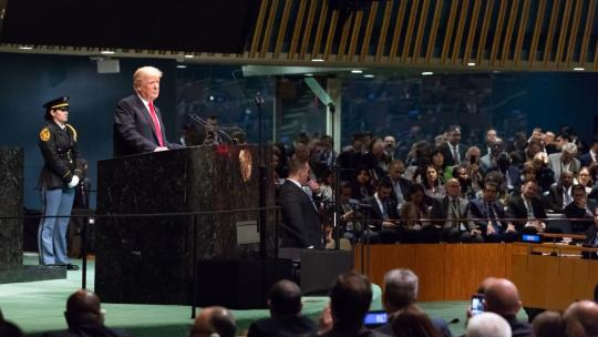 President Donald J. Trump addresses the 73rd session of the U.N. General Assembly Tuesday, Sept. 25, 2018, at the United Nations Headquarters in New York. (Official White House Photo by Andrea Hanks)