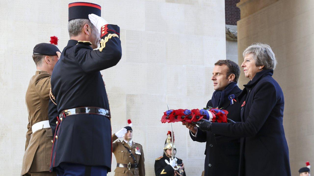 Prime Minister Theresa May attended the Thiepval Memorial to the Missing of the Somme alongside French President, Emmanuel Macron, and laid a wreath in respect. Nov 9, 2018 (number10gov/flickr)
