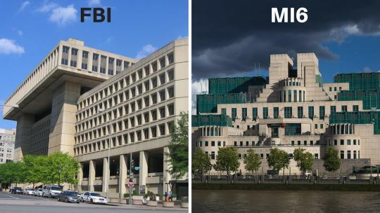 Photo credits: FBI Building (I, Aude, CC BY-SA 3.0, wikimedia) - MI6 Building (Laurie Nevay, CC BY-SA 2.0, wikimedia)