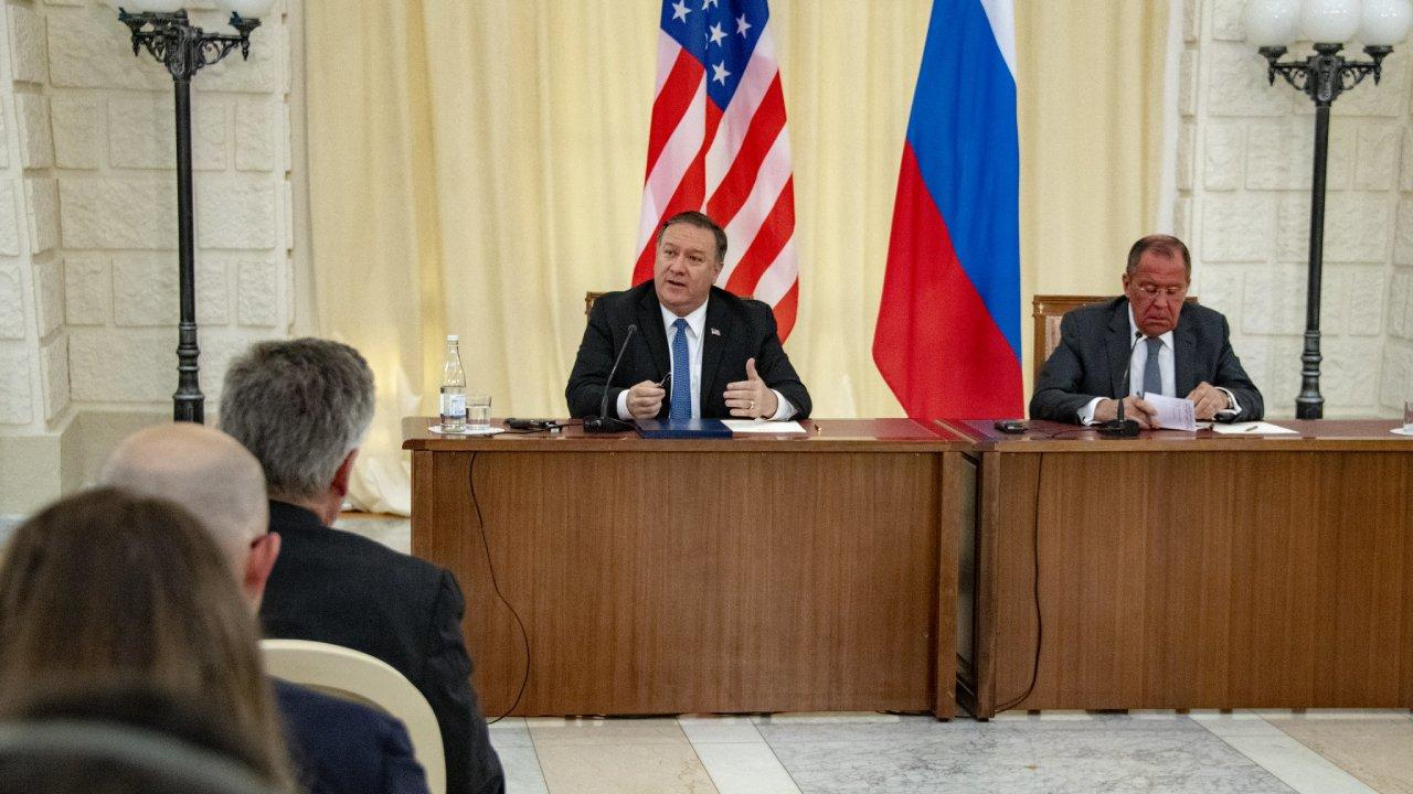 U.S. Secretary of State Michael R. Pompeo participates in a joint press availability with Russian Foreign Minister Sergey Lavrov in Sochi, Russia on May 14, 2019. [State Department photo by Ron Przysucha/ Public Domain]