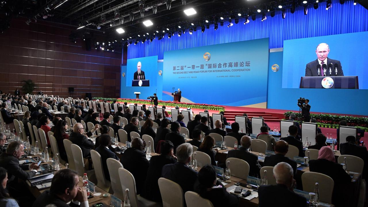 Russian President Putin speaks at the second Belt and Road Forum for International Cooperation (BRF). April 26, 2018, Beijing, China (en.kremlin.ru)