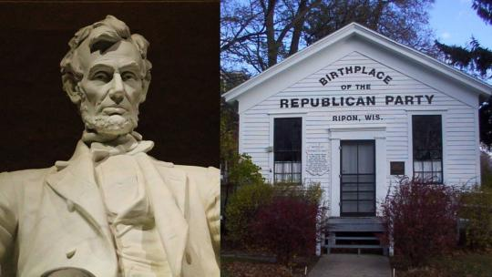 Left: Close-up of the Lincoln Memorial (Photo: William Pei Yuan) Right: A photograph of the Little White Schoolhouse of Ripon, Wisconsin claimed birthplace of the U.S. Republican Party. (Photo: Wikipedia User, Laharl)