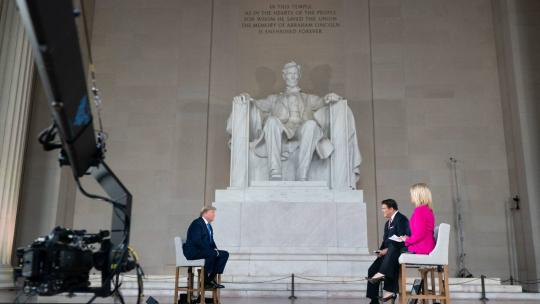 President Donald J. Trump participates in a FOX News Channel virtual town hall entitled America Together: Returning to Work, with co-moderators Bret Baier and Martha MacCallum live from the Lincoln Memorial Sunday, May 3, 2020, in Washington, D.C.