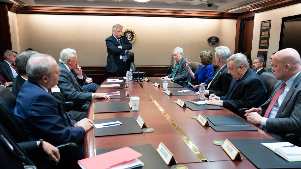 President Donald J. Trump, joined by Vice President Mike Pence, meets with Congressional leadership Wednesday, January 4, 2019, in the Situation Room. (Official White House Photo by Shealah Craighead)
