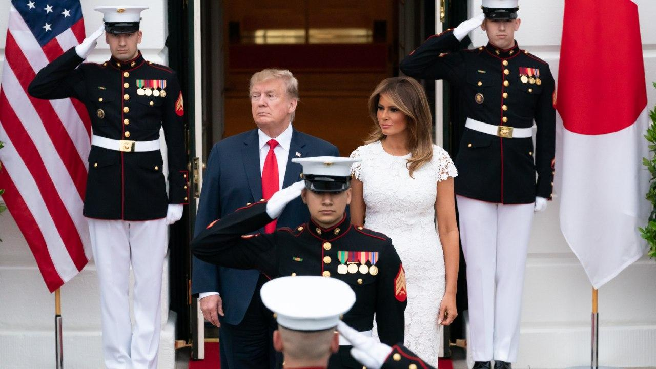 President Donald J. Trump and First Lady Melania Trump wait for the arrival of the Prime Minister of Japan Shinzo Abe and his wife Mrs. Akie Abe Friday, April 26, 2019, at the South Portico of the White House. (Official White House Photo by Andrea Hanks)