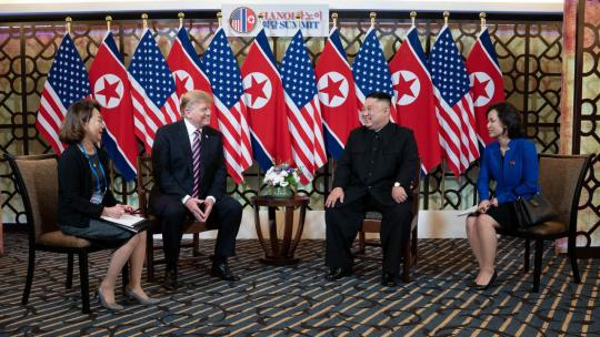 President Donald J. Trump and Kim Jong Un, Chairman of the State Affairs Commission of the Democratic People's Republic of Korea talk Wednesday, Feb. 27, 2019, at the Sofitel Legend Metropole hotel in Hanoi, for their second summit meeting.