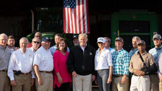 President Donald J. Trump and First Lady Melania Trump meet with local farmers to discuss the impact Hurricane Michael has had on their crops Monday, Oct. 15, 2018, at Charlie Stewart's Farm in Macon, Ga. (Official White House Photo by Andrea Hanks)