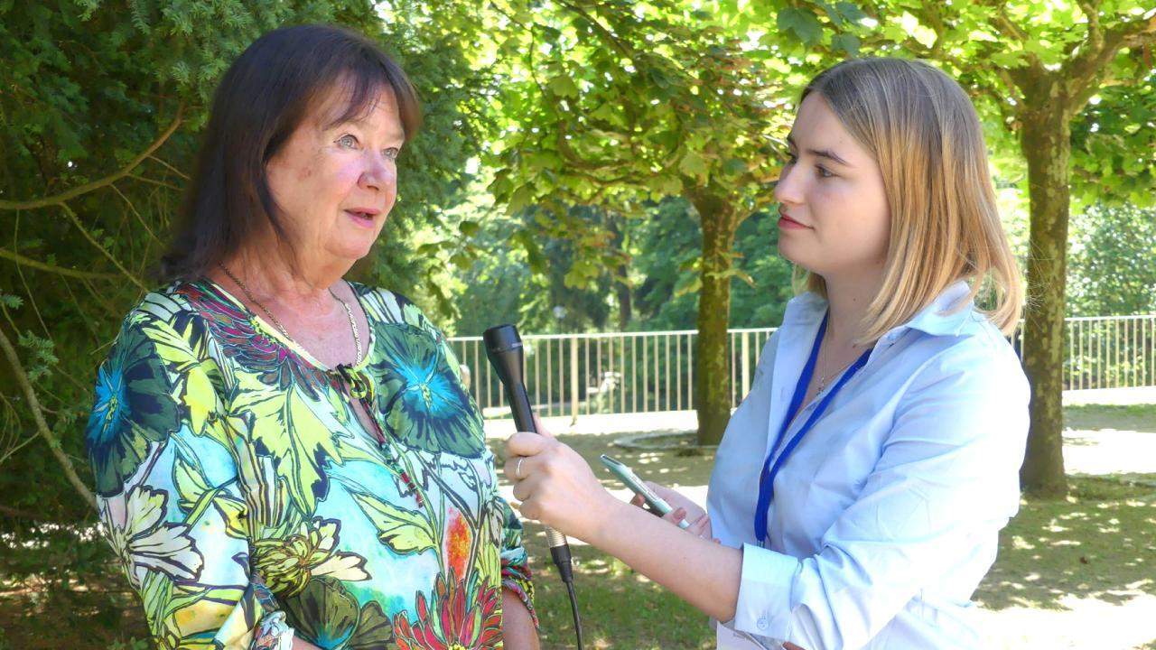 Helga Zepp-LaRouche giving an interview to an independent news media organization after the Schiller Institute's conference in early summer 2018. (Photo: Michelle Rasmussen / EIRNS)