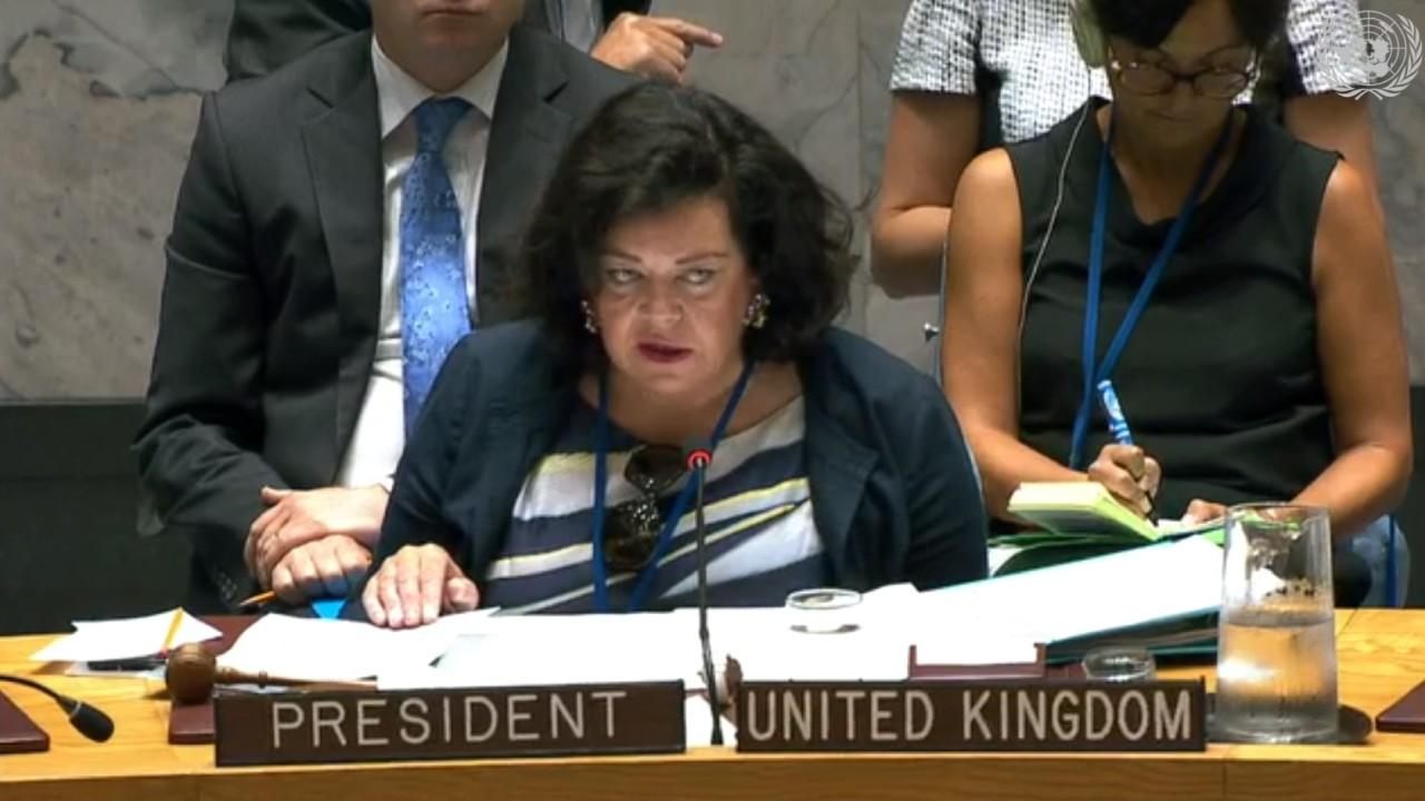 Security Council President Karen Pierce seen here. Every 30 days, the SC requests the Secretary-General to report, on the implementation of the resolutions by all parties to the conflict in the Syrian Arab Republic. Aug. 28, 2018 (Screengrab / UN)