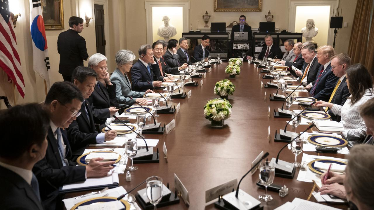 President Donald J. Trump meets with President Moon Jae-in of the Republic of Korea Thursday, April 11, 2019, during a working lunch in the Cabinet Room of the White House. (Official White House Photo by Shealah Craighead)