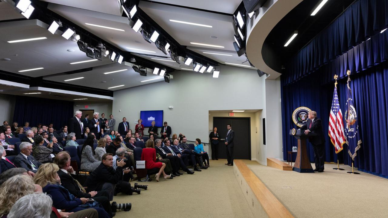 Dresident Donald J. Trump delivers remarks at the White House State Leadership Day conference addressing local elected officials of Alaska, California and Hawaii Tuesday, Oct. 23, 2018. (Official White House Photo by Joyce N. Boghosian)