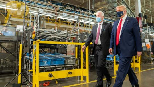President Trump participates in a tour with VP of Whirlpool's Integrated Supply Chain and Quality Jim Keppler, August 6, 2020, at the Whirlpool Corporation Manufacturing Plant in Clyde, Ohio. (Official White House Photo by Shealah Craighead)