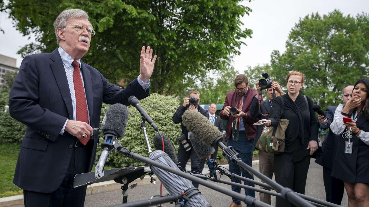 Former White House National Security Advisor Ambassador John Bolton talks to reporters Wednesday, May 1, 2019, outside the West Wing entrance of the White House. (Official White House Photo by Tia Dufour)