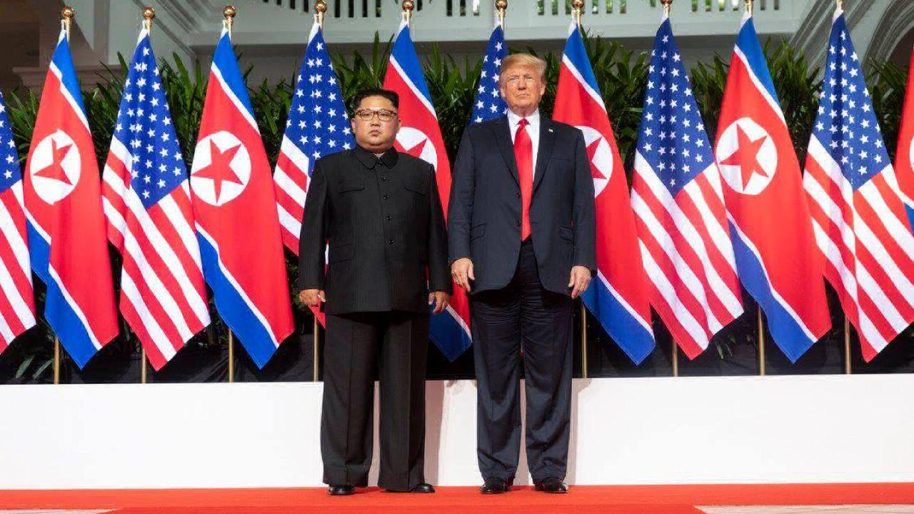 President Donald J. Trump and North Korean leader Kim Jong Un meet for the first time, Tuesday, June 12, 2018, at the Capella Hotel in Singapore. (Official White House Photo by Shealah Craighead)