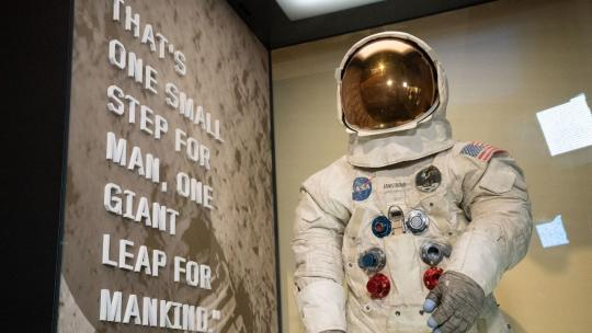 Neil Armstrong's space suit at the National Air and Space Museum in honor of the 50th Anniversary of the Apollo 11 Mission Tuesday July 16, 2019. (Official White House Photo by D. Myles Cullen)