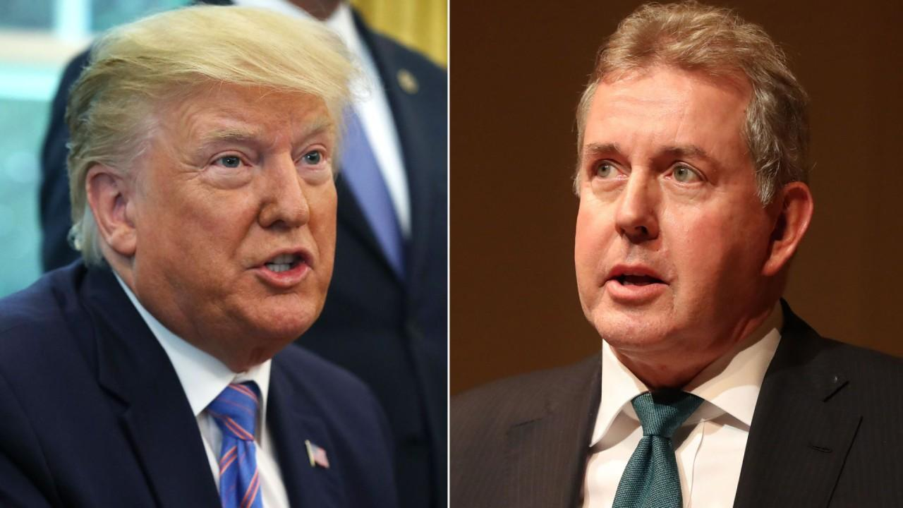 President Donald Trump and Sir Kim Darroch (right), who said the White House had become 'uniquely dysfunctional' (photo: news.sky.com)