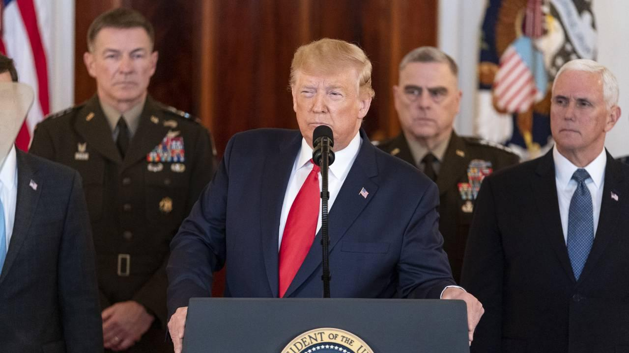 President Trump, joined by Vice President Pence, senior White House advisors and senior military personnel, delivers remarks on Wednesday, Jan. 8, 2020, from the White House, responding to the retaliatory missile strikes by Iran. (Official WH Photo)