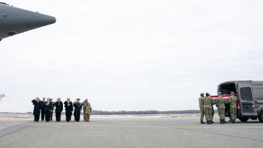 President Trump, joined by the Secretary of State and acting Secretary of Defense, attend the dignified transfer of remains Saturday, Jan 19, 2019, at Dover Air Force Base in Dover, DE, for four Americans killed in a suicide explosion Wednesday in Syria.