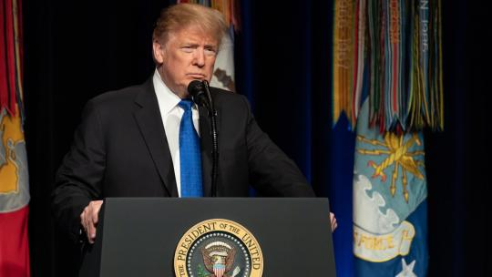 President Donald J. Trump, joined by Vice President Mike Pence, addresses his remarks at the Pentagon Thursday, January 17, 2019, announcing the Pentagon's Missile Defense Review.(Official White House Photo by Tia Dufour)