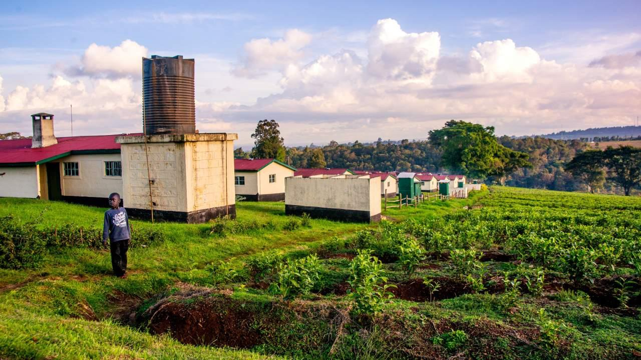 Boy standing by houses on a Tea plantation near Nairobi, Kenya. April 18, 2015 (https://www.flickr.com/photos/bryonlippincott/)