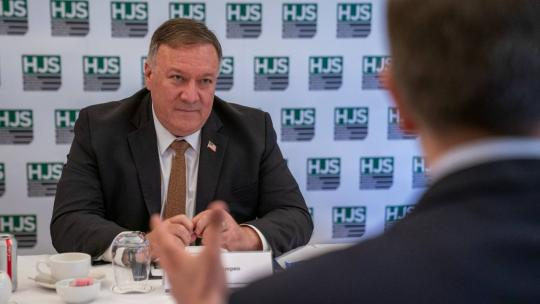 Secretary of State Michael R. Pompeo participates in a roundtable discussion hosted by the Henry Jackson Society in London, United Kingdom on July 21, 2020. [State Department photo by Ronny Przysucha/ Public Domain]