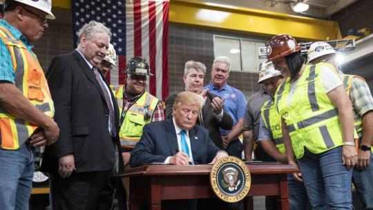 President Trump Delivers Remarks and Signs an Executive Order on Energy & Infrastructure. He signs one of two Executive Orders to streamline Federal processes surrounding energy and infrastructure development Wednesday, April 10, 2019, in Crosby, Texas.