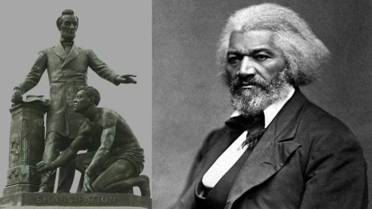 (left) Freedman's Monument in Lincoln Park on Massachusetts Ave NE, Sculptor: Thomas Ball Photographer: https://www.flickr.com/photos/bootbearwdc (right) Frederick Douglass, ca. 1879. Photograph by George K. Warren. US National Archives