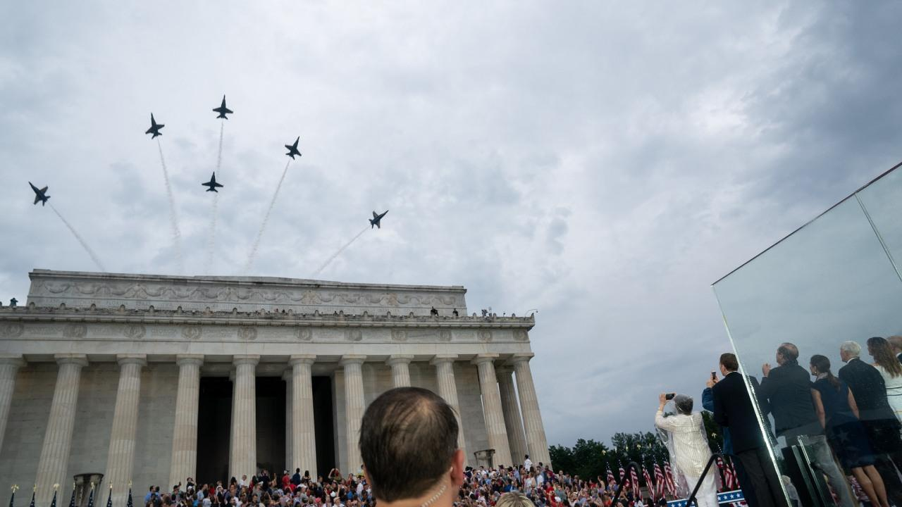 Military aircraft fly above the Lincoln Memorial as President Donald J. Trump, addresses his remarks at the Salute to America event Thursday, July 4, 2019, at the Lincoln Memorial in Washington, D.C. (Official White House Photo by D. Myles Cullen)