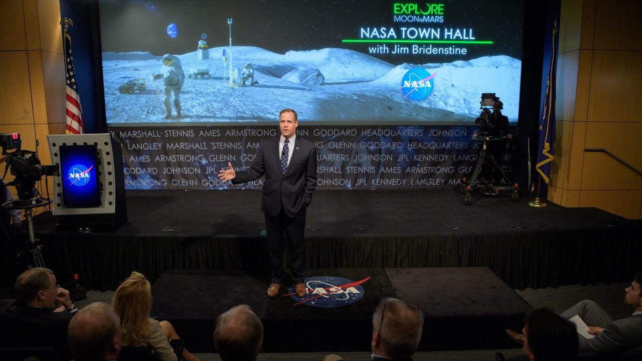 NASA Administrator Jim Bridenstine is seen during a NASA town hall event, Monday, April 1, 2019 at NASA Headquarters in Washington. Photo Credit: (NASA/Bill Ingalls)