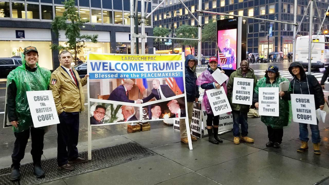 LaRouchePAC organizing around the UN, part of the Trump greeting party [Daniel Burke/LaRouchePAC]