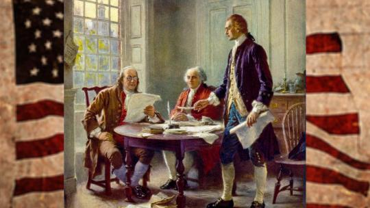 Writing the Declaration of Independence, 1776, by Jean Leon Gerome Ferris. Thomas Jefferson, John Adams, and Benjamin Franklin were named to a committee to prepare a declaration of independence.