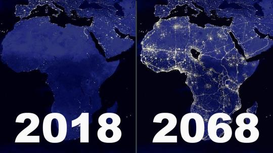 An artist's rendition of what Africa could look like at night in the near future.