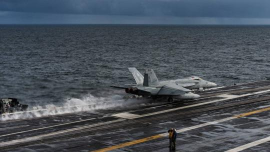"F/A-18E Super Hornet launches from an aircraft carrier during ""Northern Edge,"" one in a series of U.S. Indo-Pacific Command exercises in 2019 that prepares joint forces to respond to crisis in the Indo-Pacific region. (U.S. Navy photo)"
