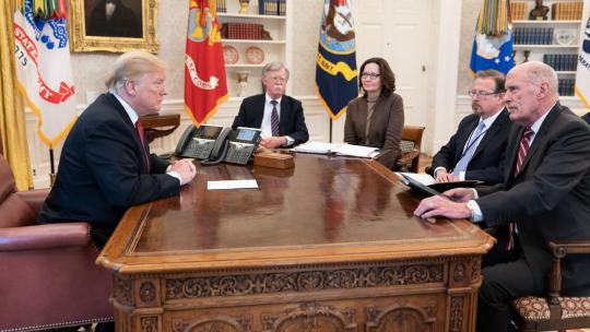 President Trump participates in a meeting with National Security Adviser Ambassador John Bolton; Director of CIA Gina Haspel and Director of National Intelligence Dan Coats, right, on Jan. 31. 2019, at the White House. (Official White House Photo)