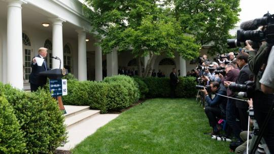 President Donald J. Trump gives remarks in the Rose Garden following his meeting with Congressional Democrats | May 22, 2019 (Official White House Photo by Shealah Craighead)