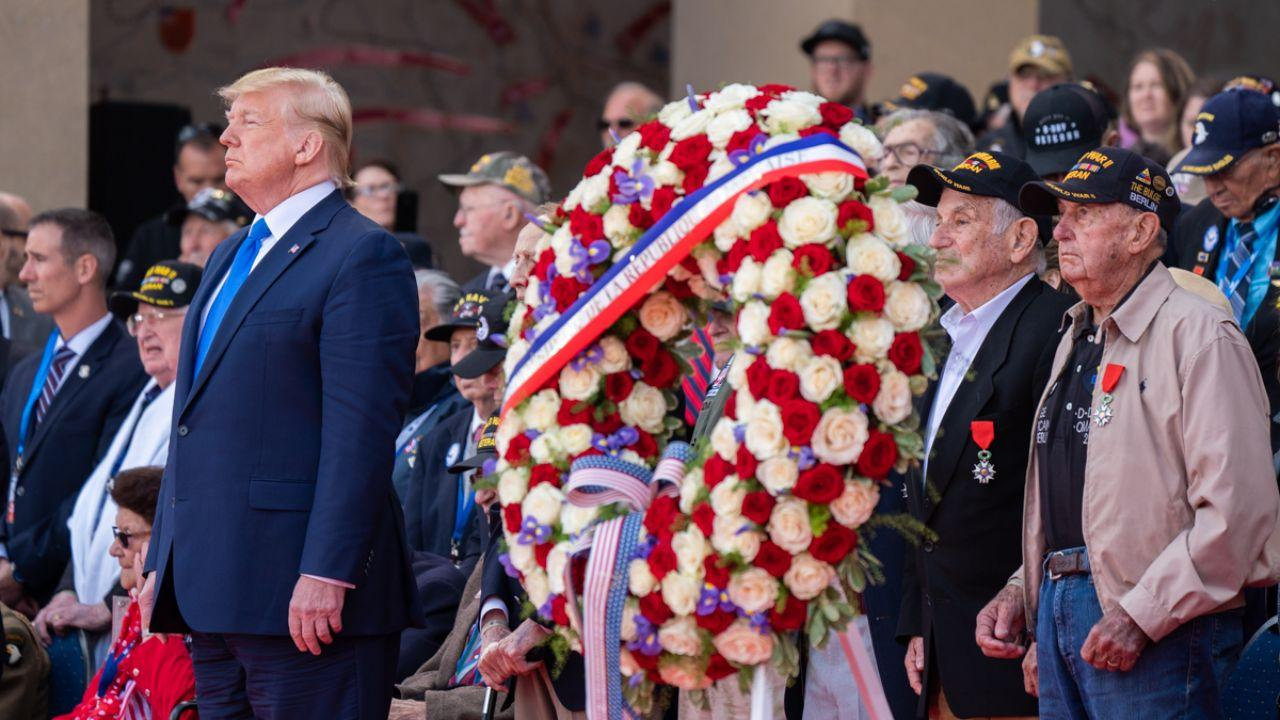 President Donald J. Trump honors those who made the greatest sacrifice during the 75th Commemoration of D-Day Thursday, June 6, 2019, at the Normandy American Cemetery in Normandy, France. (Official White House Photo by Shealah Craighead)