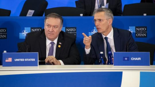 U.S. Secretary of State Michael R. Pompeo, NATO Secretary General Jens Stoltenberg and fellow foreign ministers participate in the NATO plenary session at the U.S. Department of State in Washington, D.C., on April 4, 2019. [State Department photo]