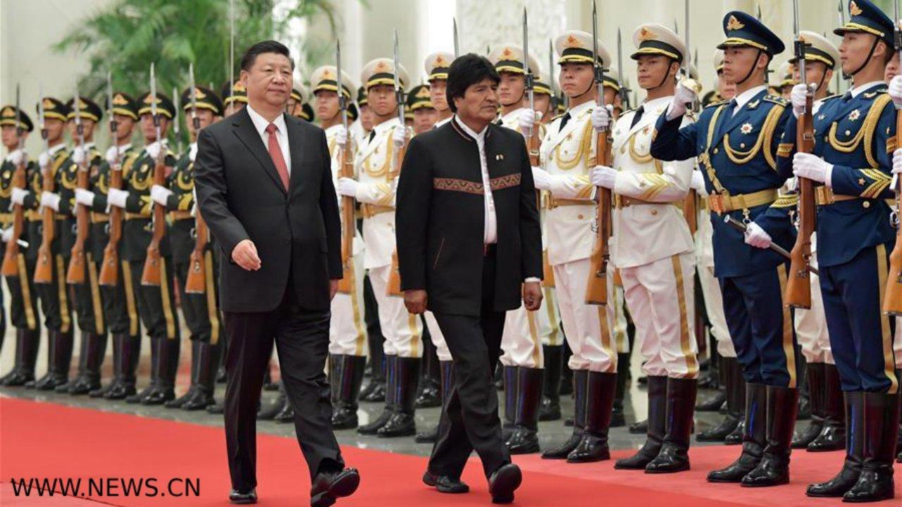 Chinese President Xi Jinping hosts a welcoming ceremony for Bolivian President Juan Evo Morales Ayma at the Great Hall of the People in Beijing, June 19, 2018. Xi Jinping held talks with Juan Evo Morales Ayma on Tuesday. (Xinhua/Yin Bogu)