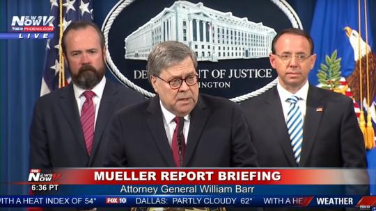 Attorney General William Barr gives a briefing on the findings in the Muller report at a news conference. April 18, 2019 (Fox News / Screengrab)