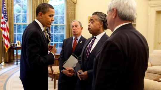 President Barack Obama meets in the Oval Office with New York City Mayor Michael Bloomberg, Rev. Al Sharpton, and former Speaker of the House Newt Gingrich to discuss education reform May 7, 2009. (Official White House Photo by Pete Souza)