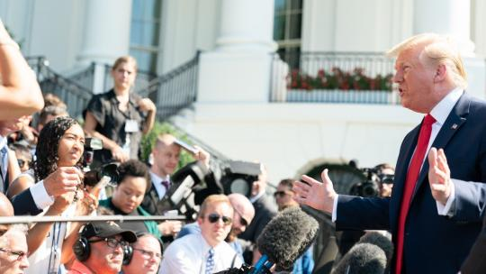President Donald J. Trump answers reporter's questions outside the South Portico entrance of the White House Friday, July 12, 2019, prior to boarding Marine One to begin his trip to Wisconsin and Ohio. (Official White House Photo by Shealah Craighead)