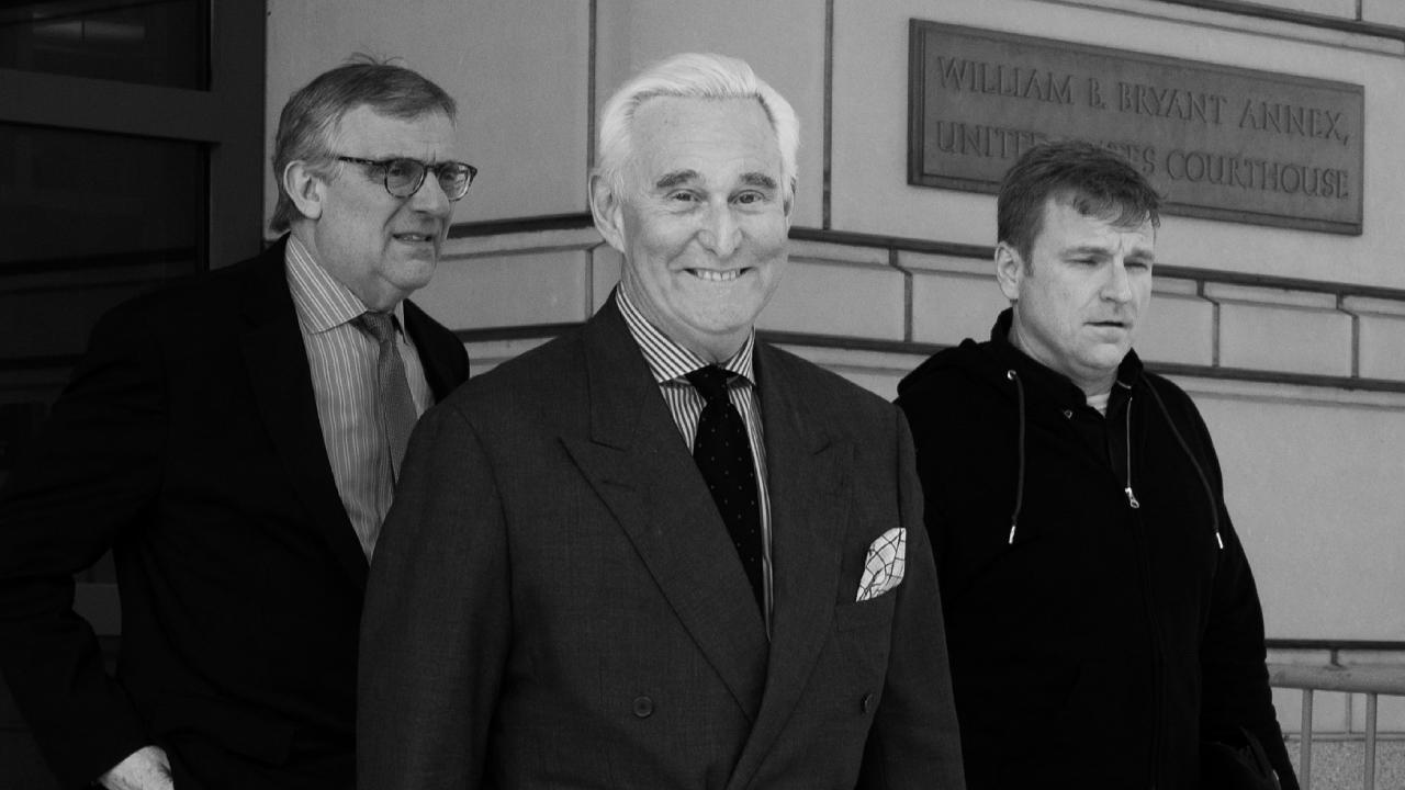 Roger Stone leaving the courthouse after his April 30, 2019 status hearing. Photo: Victoria Pickering (Flickr/Creative Commons/CC BY-NC-ND 2.0)