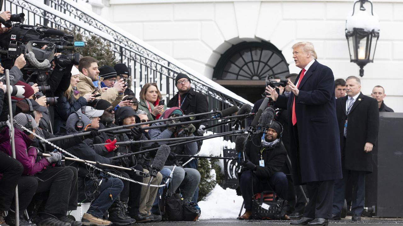 President Donald J. Trump speaks to the press before departing the South Lawn of the White House Monday, January 14, 2019, en route to Joint Base Andrews, Maryland to begin his trip to New Orleans, Louisiana. (Official White House Photo)