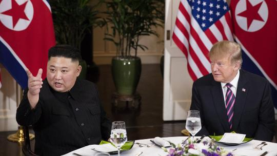 President Donald J. Trump and Kim Jong Un, Chairman of the State Affairs Commission of the Democratic People's Republic of Korea meet for a social dinner Wednesday, Feb. 27, 2019, at the Sofitel Legend Metropole hotel in Hanoi.