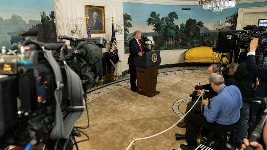 President Donald J. Trump addresses his remarks on the humanitarian crisis on our southern border and the partial government shutdown Saturday, January 19, 2019, in the Diplomatic Reception Room of the White House. (Official White House Photo)