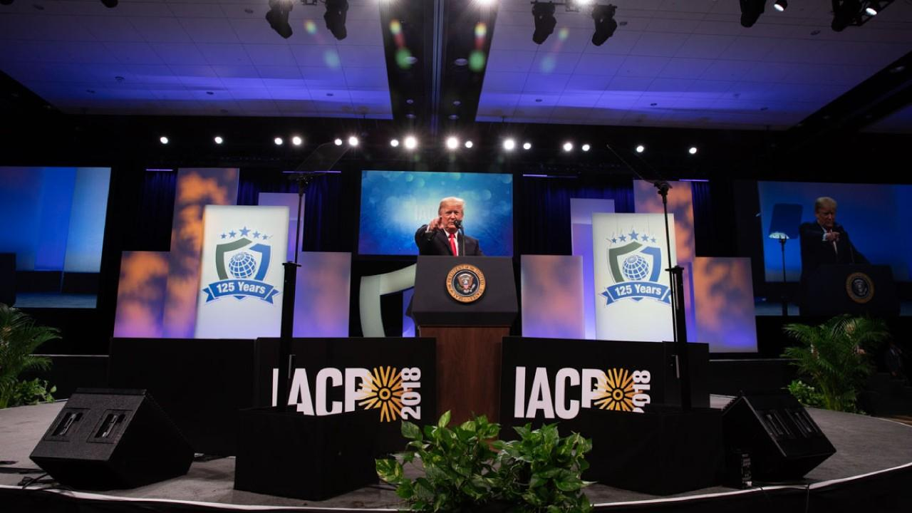President Donald J. Trump addresses his remarks Monday, Oct. 8, 2018, at the International Association of Chiefs of Police and Law Enforcement Convention at the Orange County Convention Center in Orlando, Fla. (Official White House Photo)