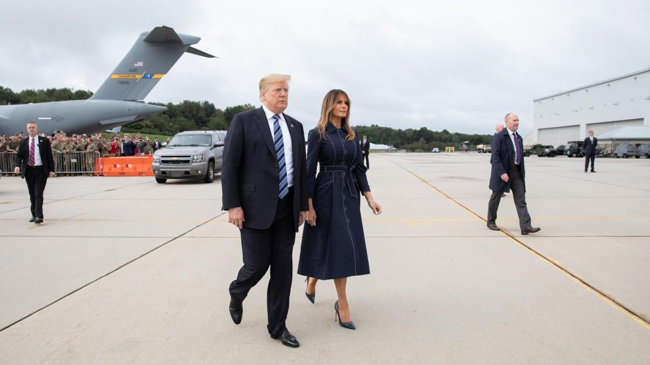 President Trump and First Lady Melania arrive to the John Murtha Johnstown-Cambria County Airport in Johnstown, Pa. on their way to attend 9/11 anniversary memorial ceremonies Tuesday, Sept, 11, 2018, at the Flight 93 National Memorial in Shanksville, Pa.