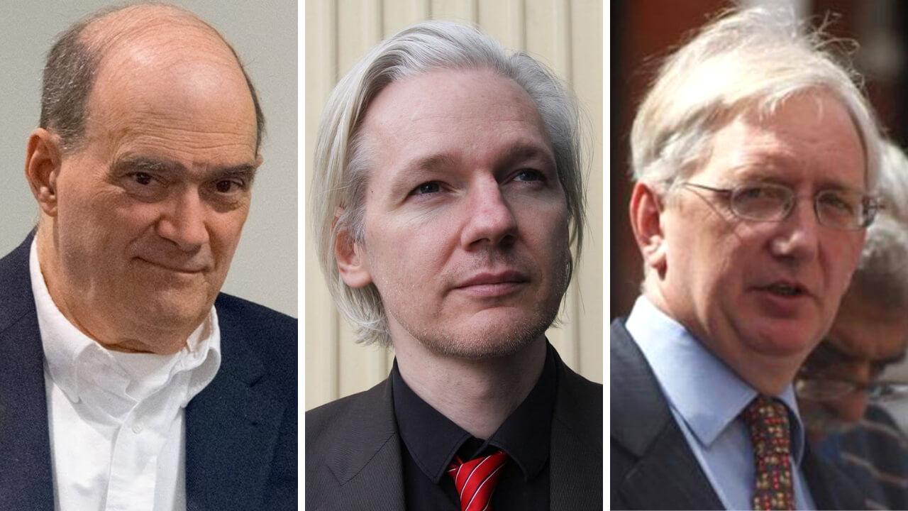 From left to right: Bill Binney, Julian Assange, and Craig Murray.