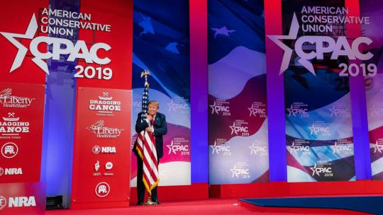 President Donald J. Trump is introduced on stage Saturday, March 2, 2019, at the Conservative Political Action Conference (CPAC) at the Gaylord National Resort and Convention Center in Oxon Hill, Md. (Official White House Photo by Tia Dufour)