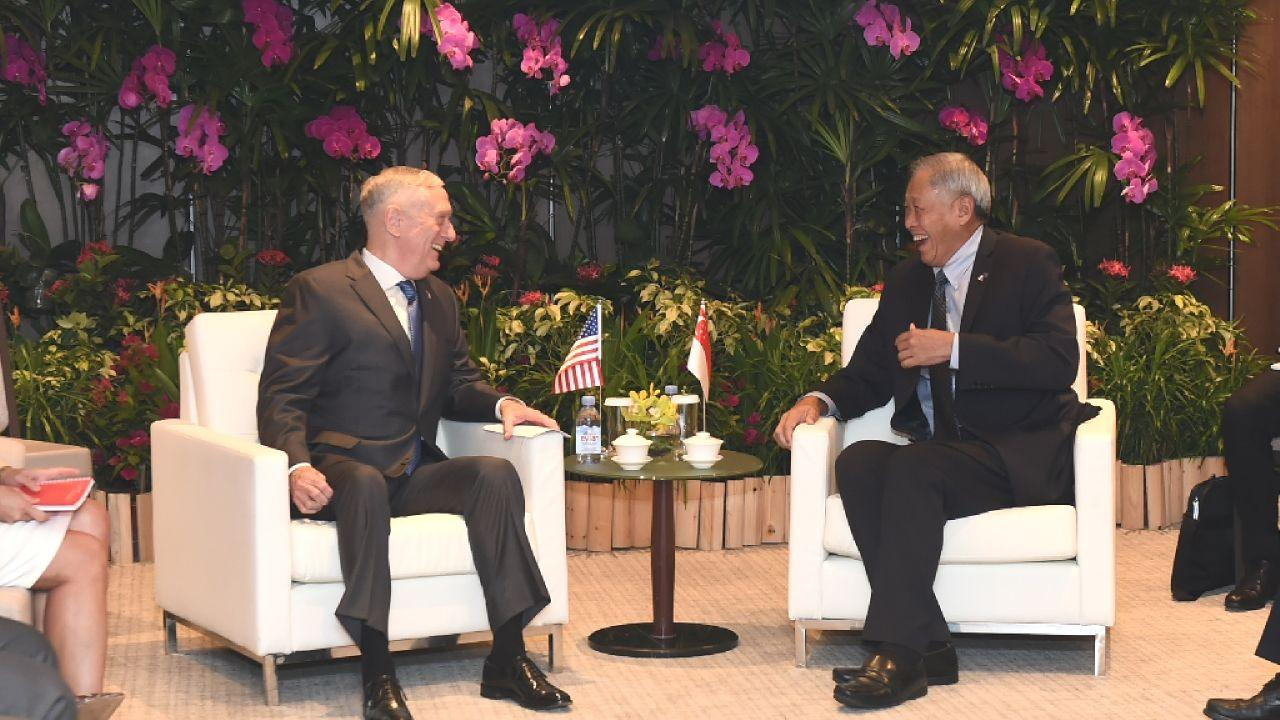 Singapore's Minister for Defence Dr Ng meeting US Secretary of Defense James Mattis prior to the ASEAN Defence Ministers' Meeting-Plus on 20 October 2018. (Singapore Ministry for Defence)